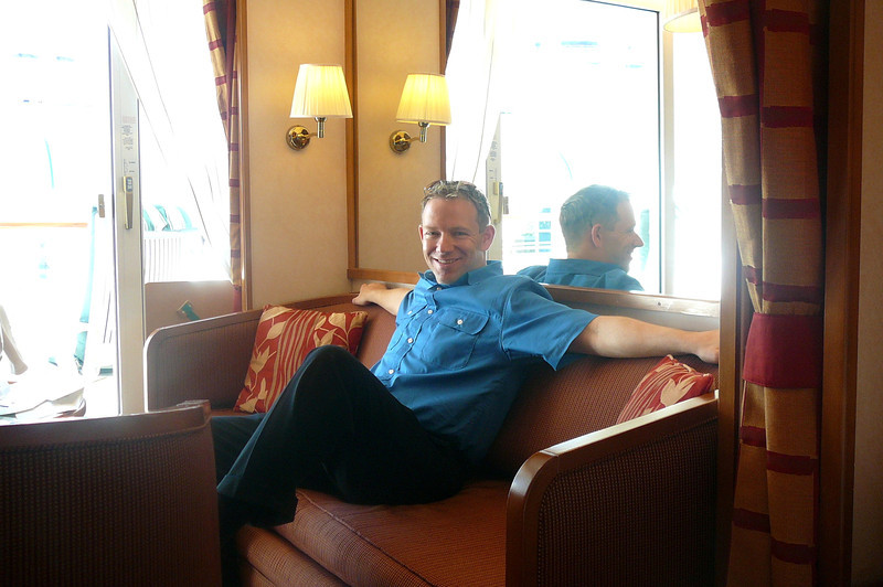 "There's Shawn taking it all in as we settle into our Suite that'll be our ""Home"" over the next 8 nights. Believe it or not, some of the other guests on this Ship were settling in for 101 nights as this was the 1st segment of a ""World Cruise!"""
