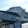 """There's Shawn in Victoria, Canada posing by the """"Celebrity Infinity"""" which was our """"Home"""" in Alaska from August 14th-21st, 2009."""