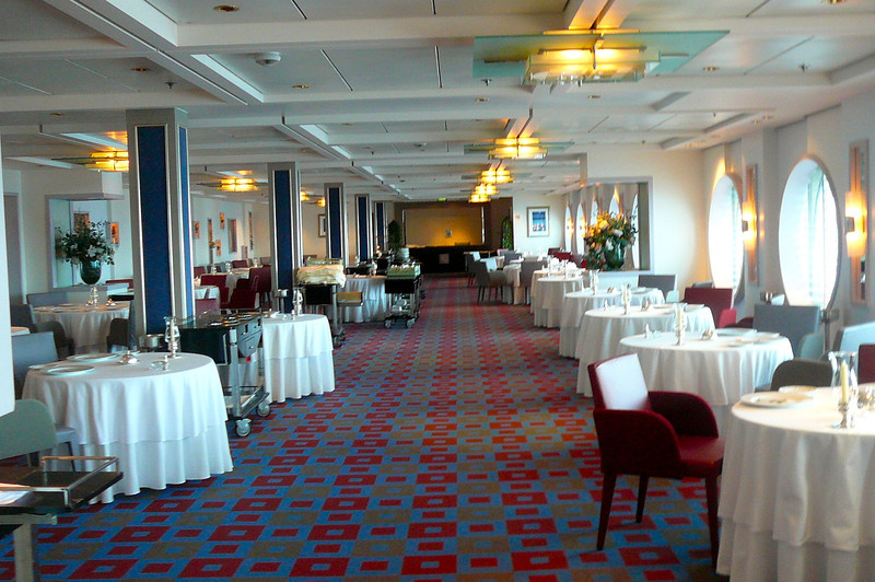 "There's a glimpse of the ""SS United"" Speciality Restaurant (the one with the, well worth it, $30 Cover charge) that we showed you earlier where we ate our 1st night onboard."