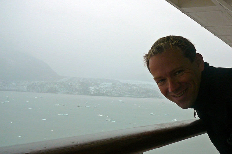"There's Shawn showing his excitement as we spot one of the smaller Glaciers on our way to ""Hubbard"". :-)"