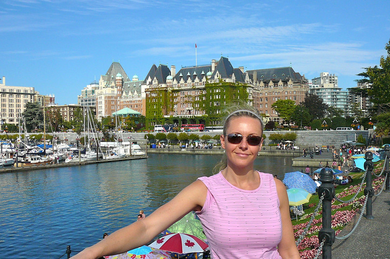 "There's Nancy in front of the Famous ""Fairmont Empress""... ""High Tea"" anyone? :-)"