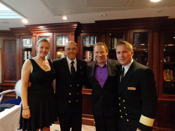 There we are getting a pic with our gracious hosts, Captain Jose Bilarinho from Portugal & Hotel Director Ryszard Gusmann from Poland... what a great ship these guys run & hopefully you'll get to experience their Hospitality in the near Future!! :-)