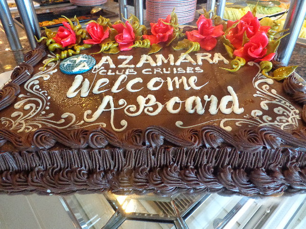 "Right away we felt very Welcome onboard the ""Azamara Quest""... and this chocolate cake at the buffet for our 1st meal made the Welcome even sweeter! :-)"