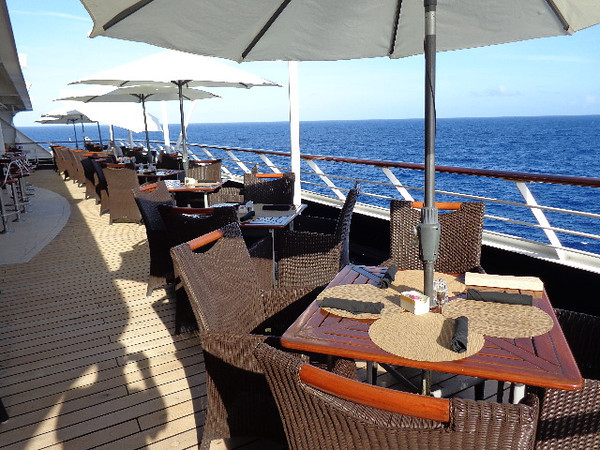 "Like all ships the ""Azamara Quest"" has a  buffet on a top deck that you can enjoy throughout the day but not all ships have this amazing space to sit outside overlooking the wake of the Ocean... a perfect place to enjoy a meal & the open seas at the same time!!"