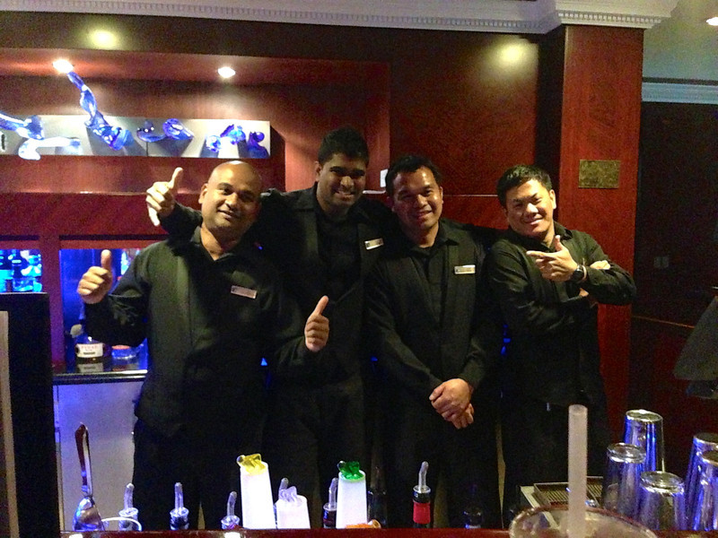 "There's some of ""The Boys"" in the Looking Glass who, always with a smile, served us at night while we enjoyed some delicious beverages... what a great bunch!! :-)"