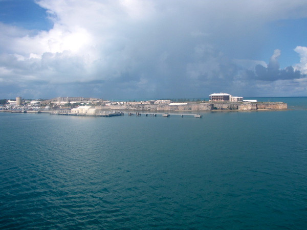 """Well, after 2 relaxing days at Sea (a great way to start a Cruise!) there's our 1st glimpses of Bermuda as we sail into the """"Royal Dockyard"""" on the West End of Bermuda."""