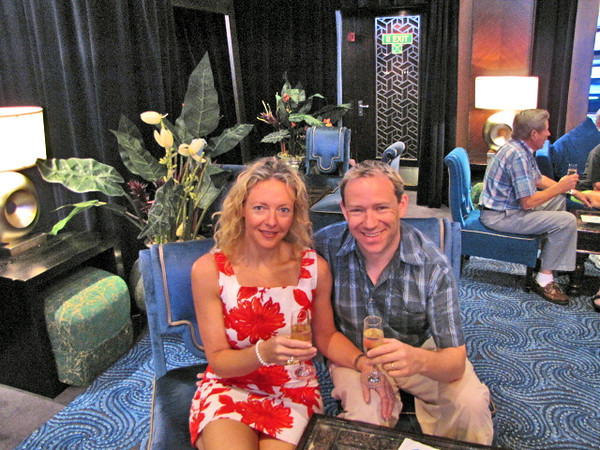 One of the big reasons we Love to Cruise is due to the great recognition you get if celebrating a Birthday, Anniversary, etc. Here we're enjoying a glass of Champagne on our 2nd Anniversary at the party.