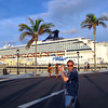"There's Shawn showing off the ""Norwegian Spirit"" which played Home for us for our wonderful week Cruising to Bermuda!!"