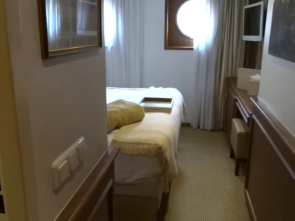 If you need to keep the price as low as possible this is a look at the bottom deck room which is the most economical on the ship... as mentioned in the video though your room is under the water level so if the water is lapping fairly strongly you'll be hearing it hit the walls while you're sleeping.