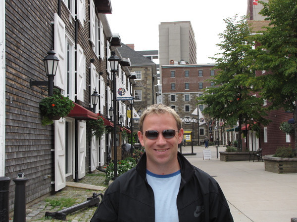 Downtown Halifax is a great area to explore by foot as you check out the cute Colonial style buildings such as the ones Shawn's doing a little pose in front of.