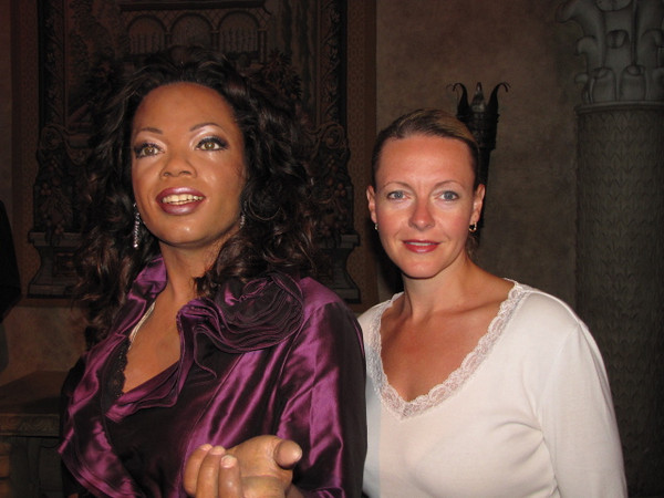 "Before ""Wicked"" we figured why not spend a little time hanging with the ""Stars"" at Madame Tussauds Wax Museum... there's Nancy saying hi to Oprah."