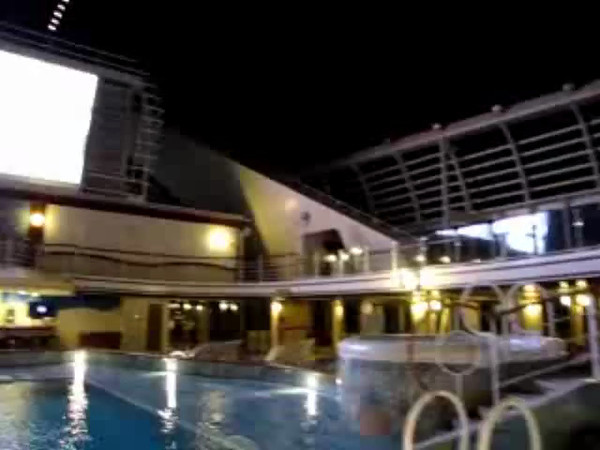 "One of Princess' funnest features on most of their Ships is the ever entertaining ""Movies Under the Stars""... there's not many better places then this one to watch the latest flick, concert, sporting event, etc.! Click Play to get a ""Live"" look at it in action."