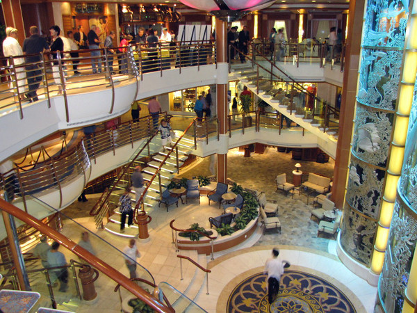"There's a shot of the Beautiful Atrium on the ""Caribbean Princess""... lots of action taking place there daily... make sure to be there for the Captain's ""Champagne Waterfall""!!"