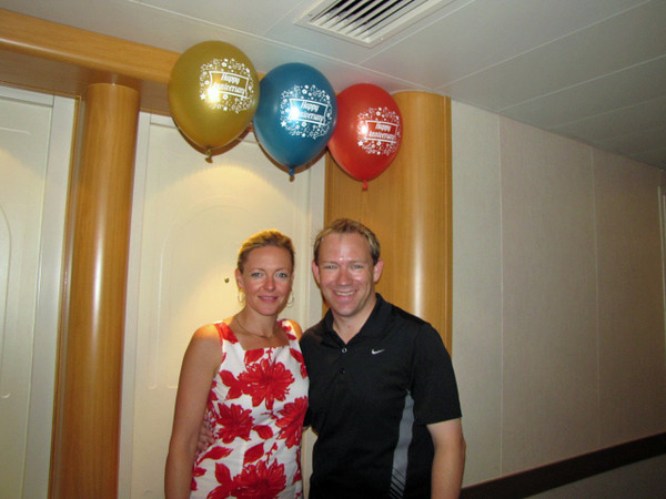 """As it was our 2nd Wedding Anniversary just 1 week ago Princess made sure to help us Celebrate with some """"Happy Anniversary"""" Balloons... and of course a Cake & song that night too. :-)"""
