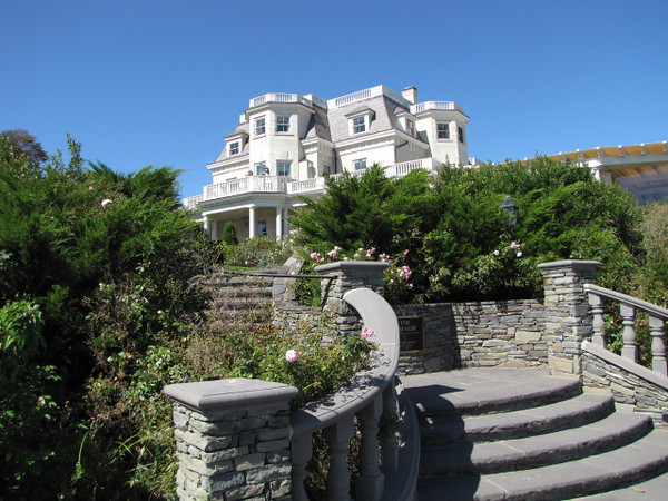 "There's one of the many amazing Mansions we saw along the ""walk"" in Newport... it's not hard to tell Newport has been the Summer home of many Rich & Famous people over the years."