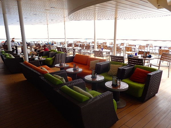At the back of the buffet is this great outdoor area to hang out... as you can see with the comfy chairs, this isn't your traditional older ship with the plastic chairs outdoors... very nice!