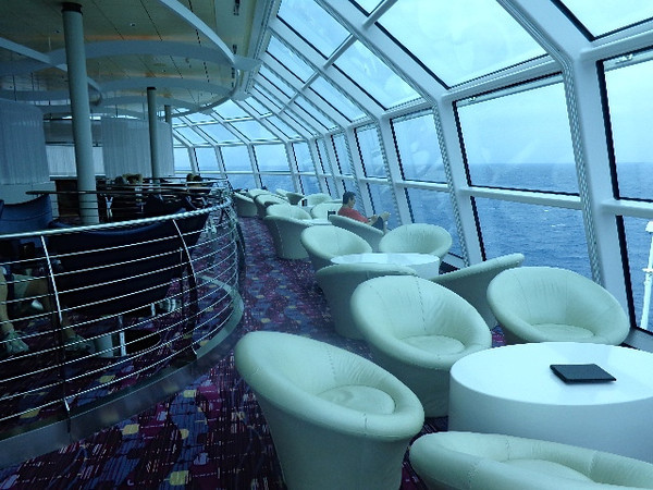 """There's a peek at the """"Sky Observation Lounge"""", high above the Sea on Deck 14... a quiet spot to enjoy the views during a day at Sea!"""