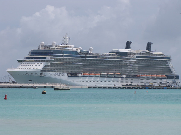 "There's a shot of the ""Celebrity Solstice"" while docked in Beautiful St. Maarten."