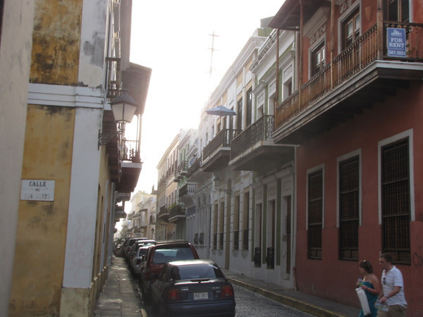 "A typical street in Old San Juan... make sure to do a little exploring on foot while here to get a feel for the way of life... definitely not the ""hustle & bustle"" we're used to!"