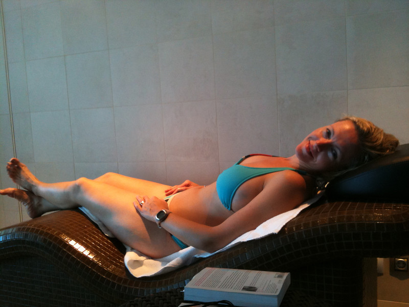 "One of the Best parts about having a Spa Suite is the Complimentary Admission that comes with it into the Adults Only Spa/Serenity area... one of our Favourite areas on the ""Epic""!!  There's Nancy totally enjoying some R & R on a heated bed. :-)"