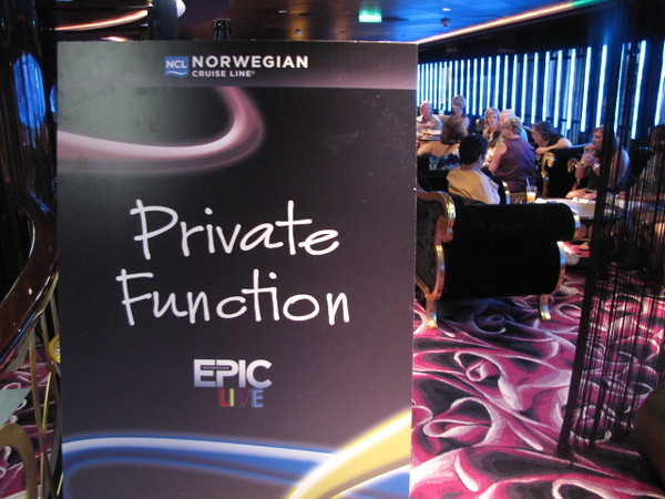 "One of the ""Perks"" we were able to get for our Group on ""Epic"" was a Private Cocktail party... what a great way to get together & reminisce about the great week we had... all while enjoying complimentary beverages & snacks! :-)"