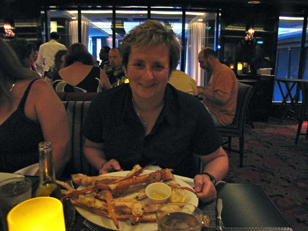"We mentioned earlier ""Cagney's"" was our favourite Restaurant on NCL Ships... by looking at the Crab Legs on Sherry's plate you can see why!! :-)"