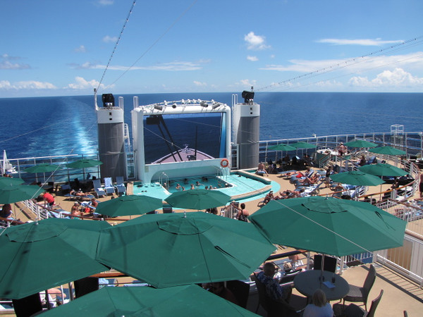 """One of the funkiest areas to hang out on Epic was """"Spice H2O""""!!  An Adults Only area where you can have a bite to eat, suntan, swim, etc. during the day and at night enjoy a game show, dance, enjoy the peacefulness of the Ocean, etc."""