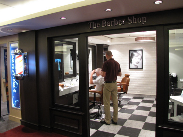 Gentlemen, need a Haircut or close shave... no worries, there's a Barber Shop onboard... and of course Ladies, for you, the Salon is up in the Spa :-)