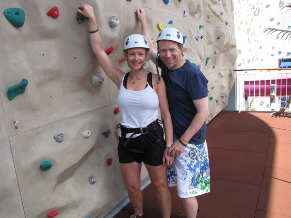 We figured since this was our 22nd Cruise and we've been on a bunch of Ships with Rock Climbing Walls but have never done it, no better time to start then now... talk about Fun!! We'll definitely be doing this on all the Ships that offer it from now on! :-)