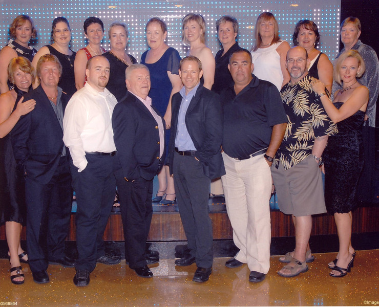 "Here's the group of 18 of us that we Hosted onboard the ""Norwegian Epic""... if you've never Cruised before with a great group of Family & Friends make sure it's on your ""Bucket List""... there's no better way to Celebrate at Sea then with a Group of Great People!! :-)"