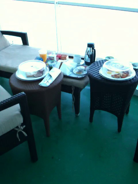 Another great reason to have a Private Balcony when Cruising is to enjoy Breakfast, Lunch or Dinner (or all 3 :-)) on your Patio... romantic & a great way to start or end a day... we love it... experiences we'll never forget!!