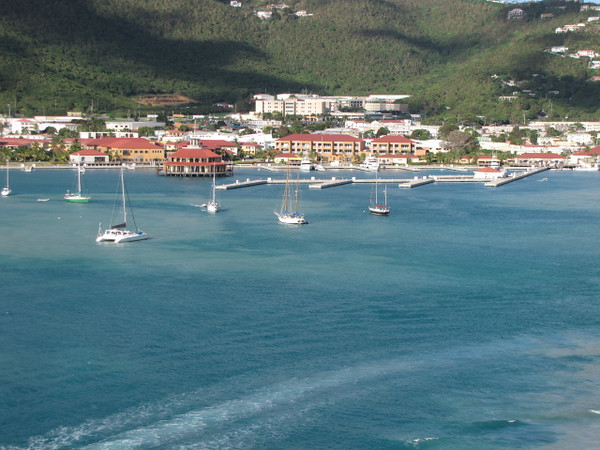 There's a shot of the St. Thomas Harbour from our Private Balcony as we're getting ready to sail away back into the Caribbean Sea.