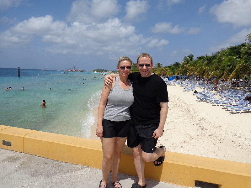 "Our 1st port stop was in ""Grand Turk""... there we are checking out the beach right at the port.  When in Grand Turk the main town doesn't offer much shopping, etc. so unless you go off and do an excursion you can hang out right at the port where there's shopping, a beautiful beach, Jimmy Buffet's Margaritaville, etc."
