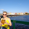Nancy figured when in Curacao why not drink out of a fresh coconut... yummy! :-)