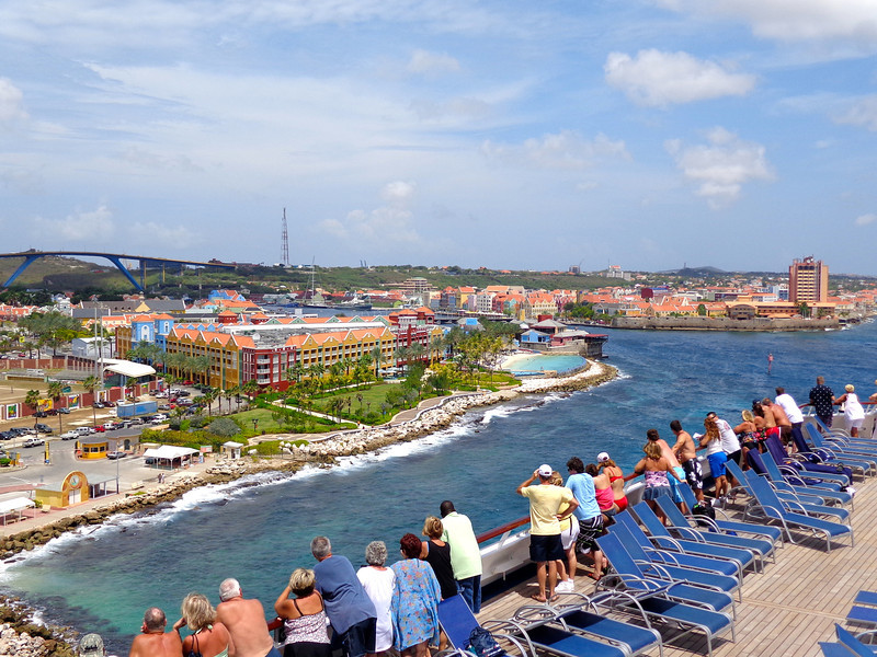 "Port stop # 3 was in colorful ""Curacao""... there's the views we saw of historical ""Willemstad"" on our way into port... did you know the City Center in Willemstad is a UNESCO World Heritage site?"