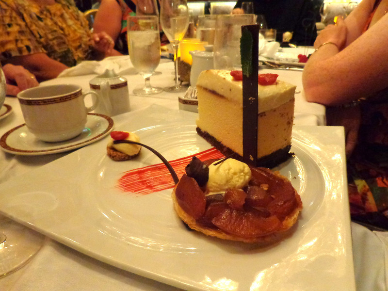 """If you eat at the steakhouse when on Carnival make sure to save room for dessert... the cheesecake is huge & delicious and the """"chocolate sampler""""... to die for!! :-)"""