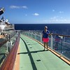 """There's Nancy showing the ramp connecting the decks... as you can see, it for sure brings you closer to """"The Edge"""" of the ship so closer to the Sea! :-)"""