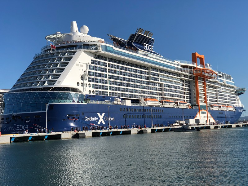 "There she is, Celebrity Cruises newest ship... ""Celebrity Edge""!"