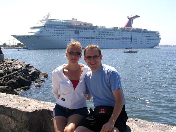 There's a great shot of our ship and us all relaxing in Mexico. :-)