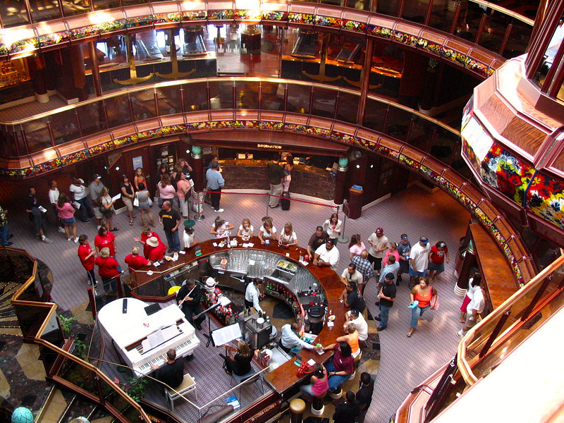 "There's the ""Carnival Paradise"" Cruise ship's beautiful 6 story ""Atrium""... always an active place to have a drink, listen to some music, people watch, etc."