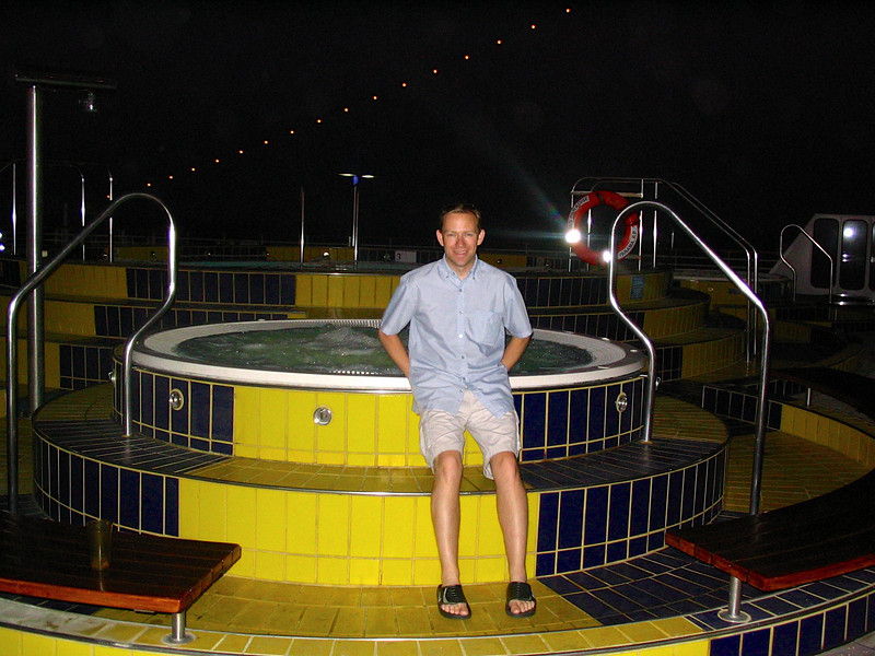 "There's Shawn admiring ""one"" of the hot tubs on the Carnival ""Paradise"" Cruise Ship... nothing better then a little hot-tubbing at night! :-)"
