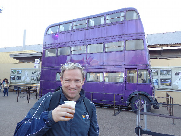 "Checking out the Triple Decker bus while enjoying some ""Butter Beer"", not a bad way to spend a Saturday! :-)"