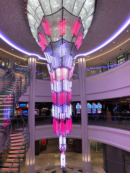 """Like on all of Norwegian's recent ships they have a funky chandelier in the atrium of """"678 Ocean Place""""... nice, right! :-)"""