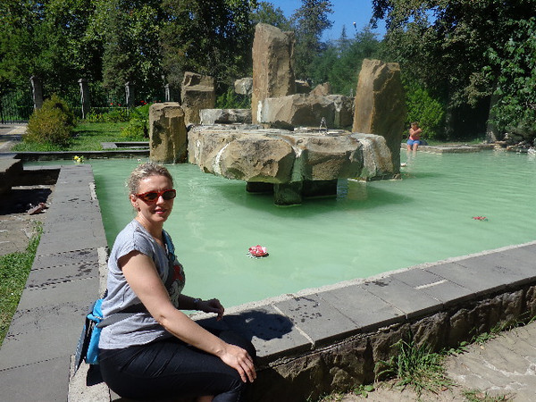 """Madesta Springs"" in Sochi is another popular area to visit for it's healing properties... there's Nancy checking it all out. :-)"