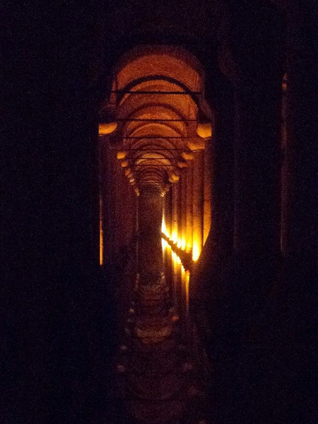 "There's a peek at the ""Basilica Cistern"", Istanbul's biggest, which provided the water supply back in the day... a ""cool"" place to check out in Istanbul for it's uniqueness & lower temperature when it's hot outside. :-)"