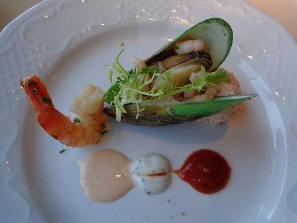 Crystal is 100% Luxury & 100% 1st-Class when it comes to everything they do... such as having u sit down for a 5 star meal immediately upon boarding the ship rather then sending you up to the Buffet as 90% of the Cruise-lines do. Did we mention the Shrimp, Mussel & Crabmeat appy for our 1st meal onboard was awesome! :-)