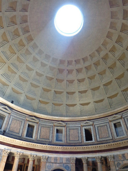 "There's a look at the ""Oculus"" (opening in the dome) in the Pantheon which provides the only light into the building... it's a unique place that u have to step inside to check out when in Rome."