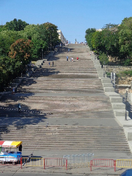 "After Constanta, our next Black Sea port stop was Odessa, Ukraine.There's the ""Potemkin Steps"" that welcome you to this popular port... they say there's 200 steps & as Nancy counted them all on the way up we'd have to agree! :-)"