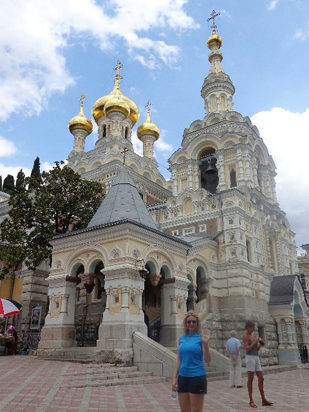 And Yalta is not just a place to chill out on Vacation in... it also features historic sites like Chekhov's mansion, Livadia Palace, the Swallow's Nest and Alexander Nevsky Cathedral which you can see in the pic above.