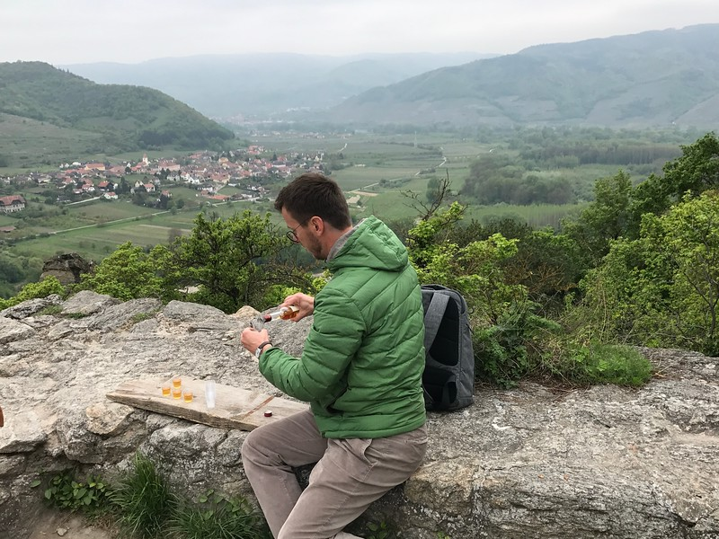And as always, Tauck threw in a special touch… our Tauck Director, Karel, treated us to some local apricot brandy as a treat for making the climb! :-)